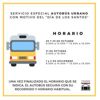 Cartel explicativo de los horarios del autobús urbano